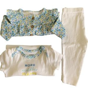 Baby Girl 3piece Blue Floral Outfit